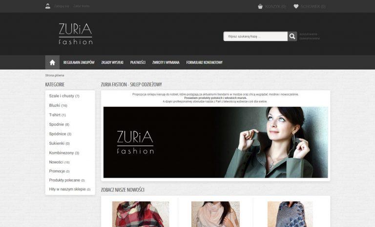 Zuria Fashion- responsywny sklep internetowy (Krosno)