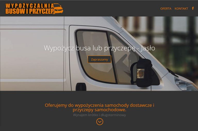 Strona www dla wypożyczalni busów i przyczep – Jasło