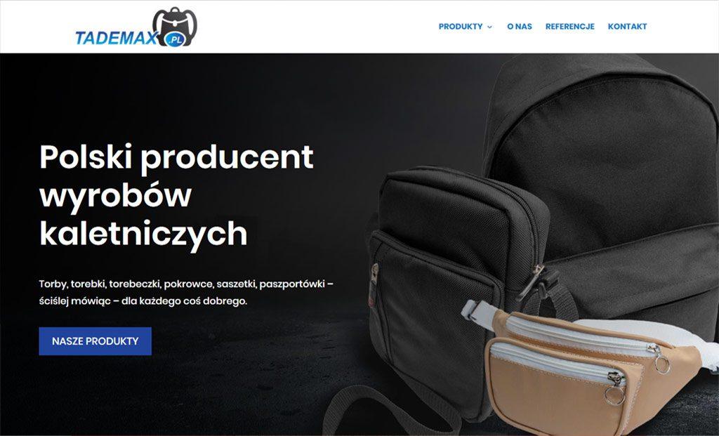 Strona www dla  firmy Tademax (Strony www Rzeszów)