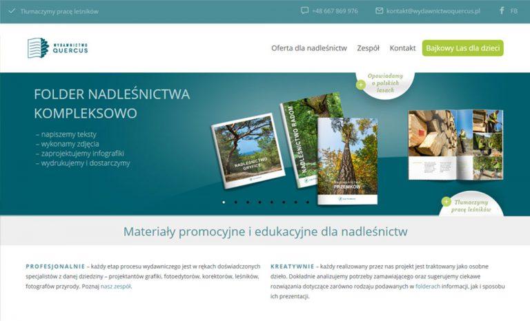 Strona internetowa dla Wydawnictwa QUERCUS