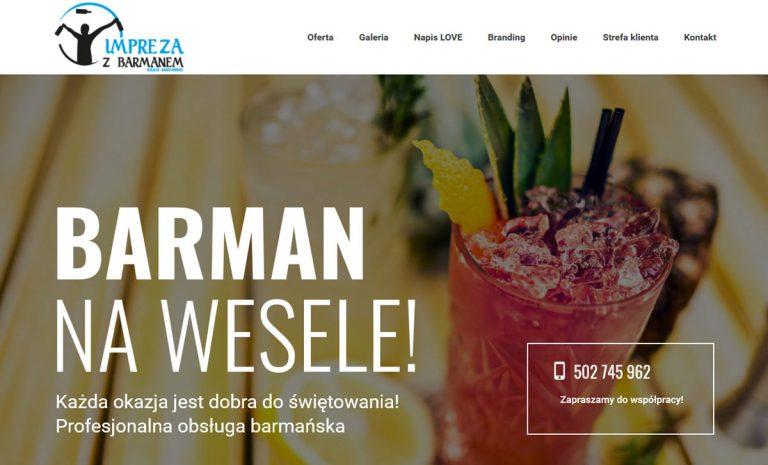 Responsywna strona internetowa – barman na wesele